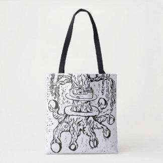 Celtic Knot World Tree Black Woodcut Print Tote Bag