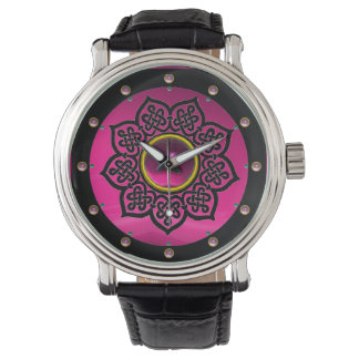 CELTIC KNOTS FLOWER PINK PURPLE AMETHYST GEMS WATCH
