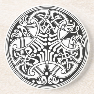 Celtic Knotwork Circle Design with Birds Beverage Coasters
