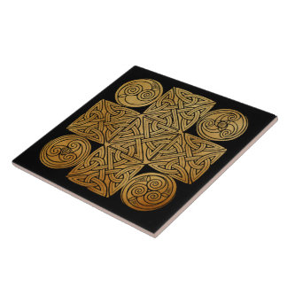 Celtic Knotwork Cross Large Square Tile
