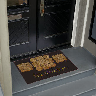 Celtic Knotwork Cross Personalized Doormat
