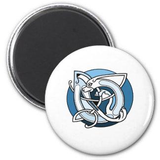 Celtic Knotwork Design - Blue Dog 6 Cm Round Magnet