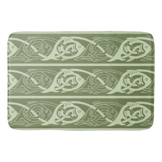 Celtic Knotwork Fish in Green Bath Mat