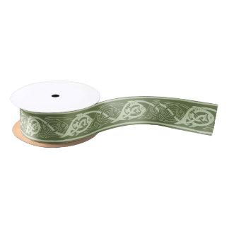 Celtic Knotwork Fish in Green Satin Ribbon