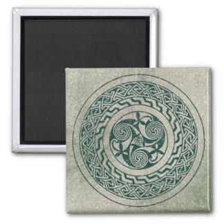 Celtic Knotwork Irish Medallion Pattern in Green Square Magnet