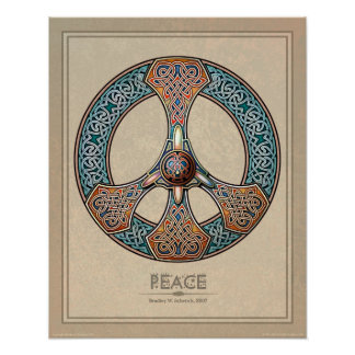 """Celtic Knotwork Peace Sign poster (16x20"""")"""