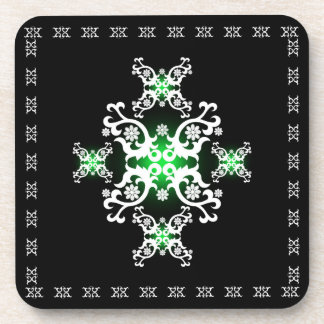 Celtic Lace Black White Green Drink Coasters
