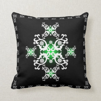 Celtic Lace Green Black White Throw Pillow