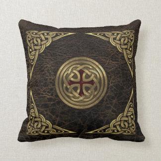 Celtic leather cushion