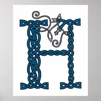 Celtic Letter H print