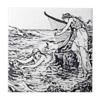 Celtic Mermaid Fairy Tale Illustration Ceramic Tile