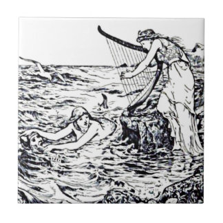 Celtic Mermaid Fairy Tale Illustration Small Square Tile