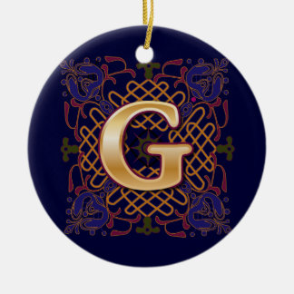 Celtic Monogram Letter G Ceramic Ornament