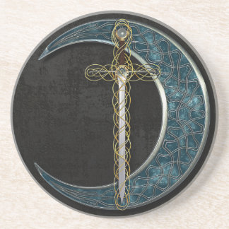 Celtic Moon and Sword Beverage Coasters