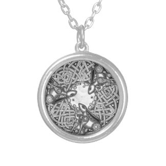 Celtic,Moon Watching Hare's Silver Plated Necklace