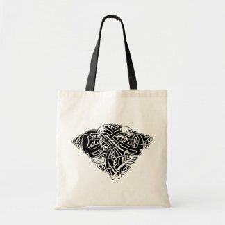 celtic pattern with animals - black and white tote bag