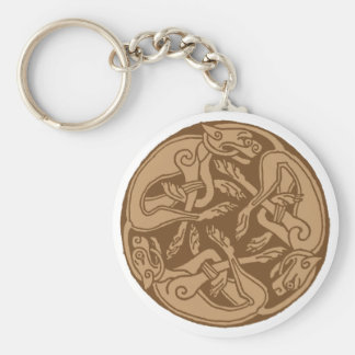 Celtic pattern with dogs - brown key ring