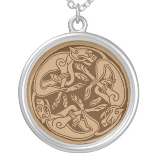 Celtic pattern with dogs - brown custom necklace