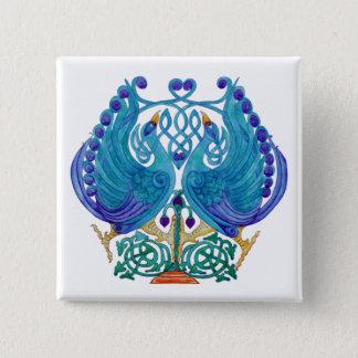 Celtic Peacocks Square Button Badge