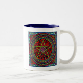 celtic pentagram 01 spellcraft Two-Tone coffee mug