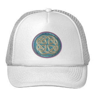 Celtic Platinum Knot on Pastel Fractal Cap