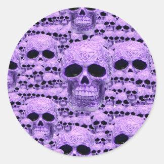 Celtic purple skull collage round sticker