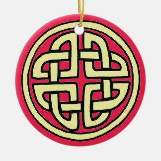 Celtic Quaternary Knot Red Ornament