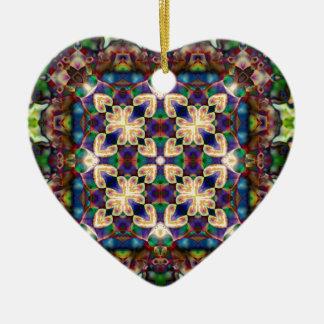 Celtic Rainbow Heart Stained Glass Mandala Ceramic Ornament