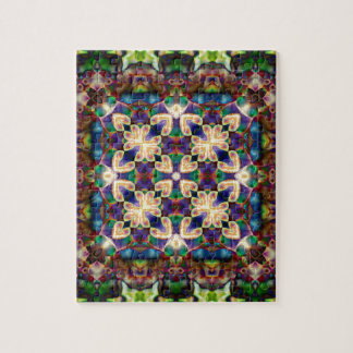 Celtic Rainbow Heart Stained Glass Mandala Jigsaw Puzzle
