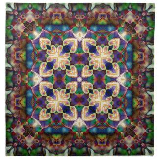 Celtic Rainbow Heart Stained Glass Mandala Napkin