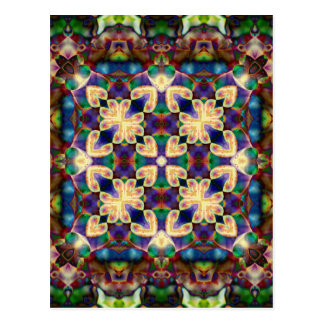 Celtic Rainbow Heart Stained Glass Mandala Postcard