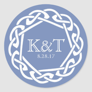 Celtic Ring Initials - Cornflower Classic Round Sticker