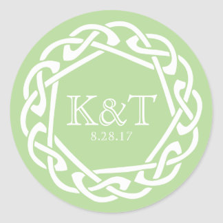 Celtic Ring Initials - Jade Classic Round Sticker