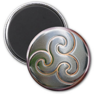 celtic round embossed triskele fridge magnet