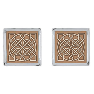 Celtic Sailor's Knot, Camel Tan, Cream and Brown Silver Finish Cufflinks