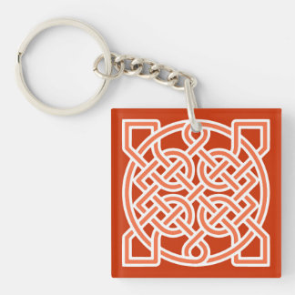Celtic Sailor's Knot, Mandarin Orange and White Key Ring