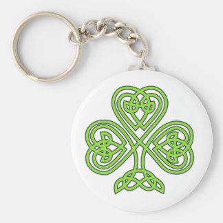 Celtic Shamrock Basic Round Button Key Ring