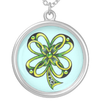 Celtic Shamrock charm by Dana Tyrrell Round Pendant Necklace