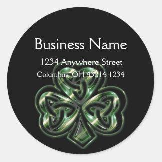 Celtic Shamrock Design 2 Round Address Labels
