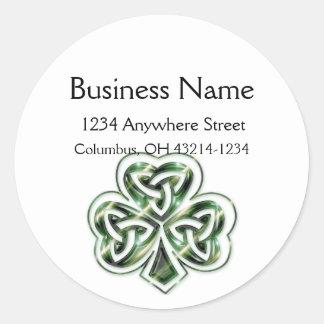 Celtic Shamrock Design 2 Round Address Labels 2 Round Sticker