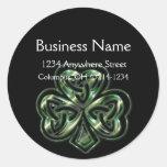 Celtic Shamrock Design 2 Round Address Labels Round Stickers