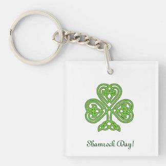 Celtic Shamrock Design Double-Sided Square Acrylic Key Ring