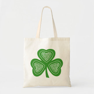Celtic Shamrock Leaf Irish Themed Design Tote Bag