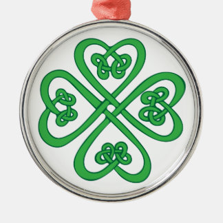 Celtic Shamrock Silver-Colored Round Decoration