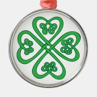Celtic Shamrock Silver-Colored Round Decoration