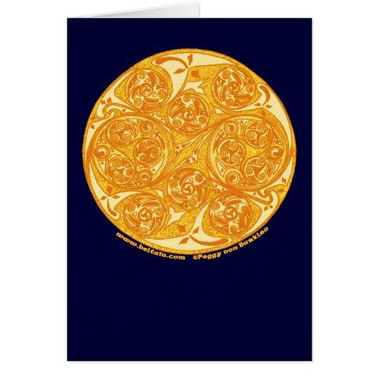 Celtic Spiral Card, Sun Mandala Design Card