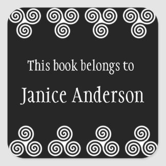 Celtic Spirals Design Bookplate Sticker