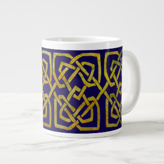 Celtic Square Knots in Gold on Dark Blue Jumbo Mug