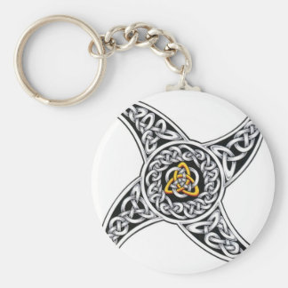 Celtic star basic round button key ring
