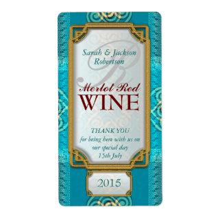 Celtic Swirl Blue Teal Custom Wine Bottle Labels